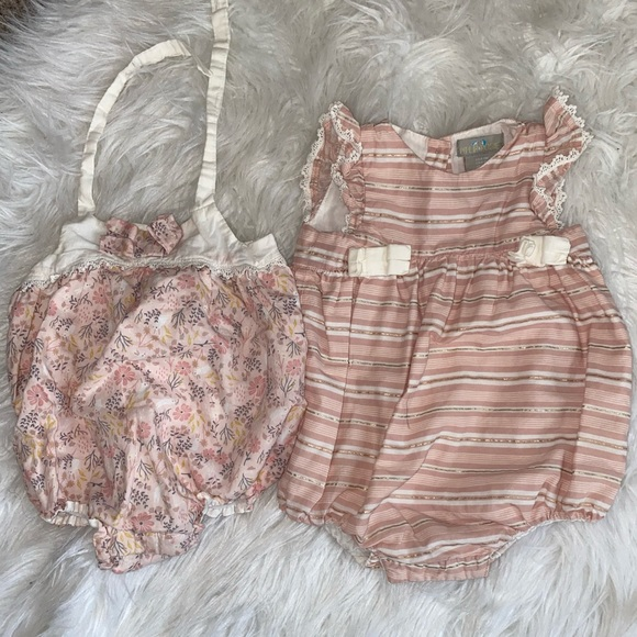 Two baby girl blush pink rompers